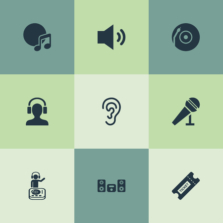 Vector Illustration Set Of Simple Sound Icons. Elements Playboy, Turntable, Album And Other Synonyms Loudspeaker, Song And Headphone.