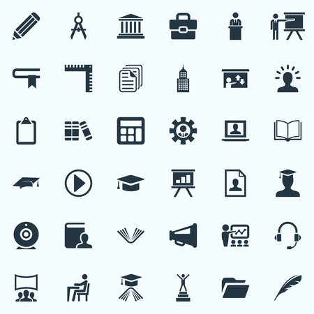 Vector Illustration Set Of Simple Conference Icons. Elements Success, Communication, Orator And Other Synonyms Count, Profile And Recruitment. Çizim