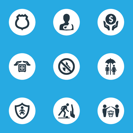 Vector Illustration Set Of Simple Warrant Icons. Elements Protect Currency, Kid, Stumbling Warning And Other Synonyms Kid, Palm And Hand.