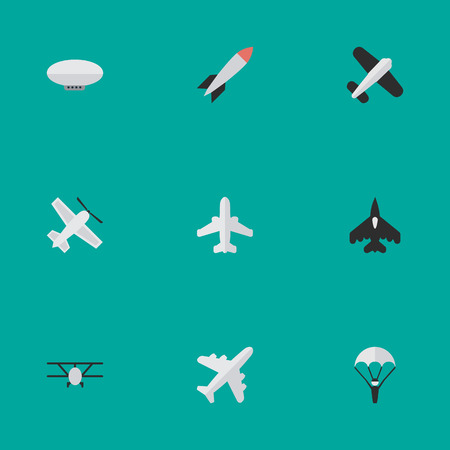 Vector Illustration Set Of Simple Aircraft Icons. Elements Balloons, Flying Vehicle, Airplane And Other Synonyms Man, Bomb And Dynamite. Illustration
