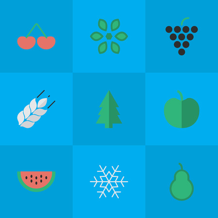 Vector Illustration Set Of Simple Garden Icons. Elements Corn, Blossom, Melon And Other Synonyms Pot, Tree And Melon.