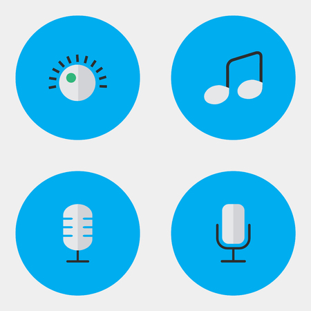 Vector Illustration Set Of Simple  Icons. Elements Regulator, Music Sign, Microphone And Other Synonyms Regulator, Music And Record.