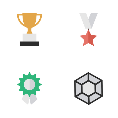 Vector Illustration Set Of Simple Awards Icons. Elements Brilliant, Goblet, Reward And Other Synonyms Award, Star And Reward.