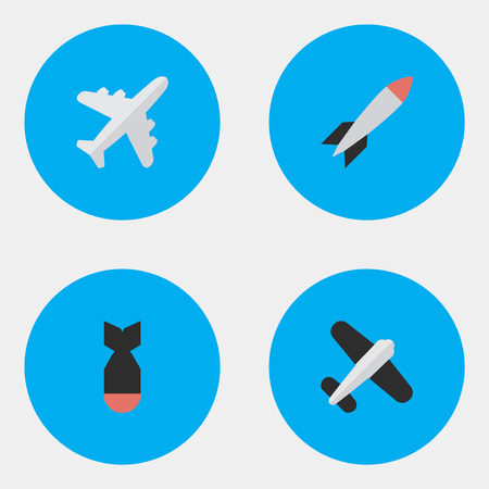 Vector Illustration Set Of Simple Plane Icons. Elements Aircraft, Bomb, Aviation And Other Synonyms Vehicle, Rocket And Airplane. Illustration