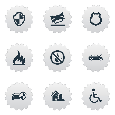 Vector Illustration Set Of Simple Warrant Icons. Elements Automobile Damage, Advocacy, Protected Vehicle And Other Synonyms Wheelchair, Handicapped And Hand.