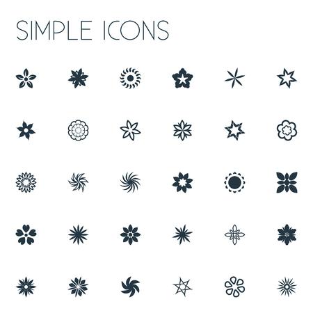 Vector illustratie Set van eenvoudige pictogrammen. Elementen Zoetzalm, Goudsbloem, Gerbera's en andere synoniemen Narcissus, ridderspoor en hibiscus.
