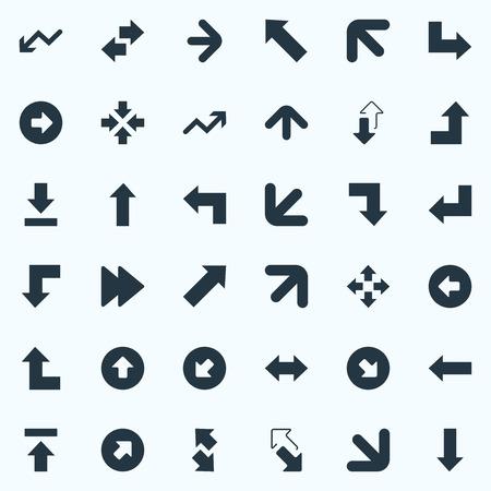 벡터 일러스트 레이 션 간단한 표시기 아이콘의 집합입니다. 요소 올바른 방향, 전송, 역방향 및 기타 동의어 역행, 커서 및 경사. 일러스트