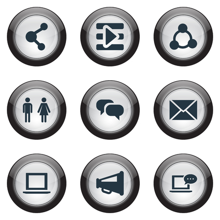 Vector Illustration Set Of Simple Media Icons. Elements Web, Megaphone, Chatting And Other Synonyms Inbox, Share And Laptop.