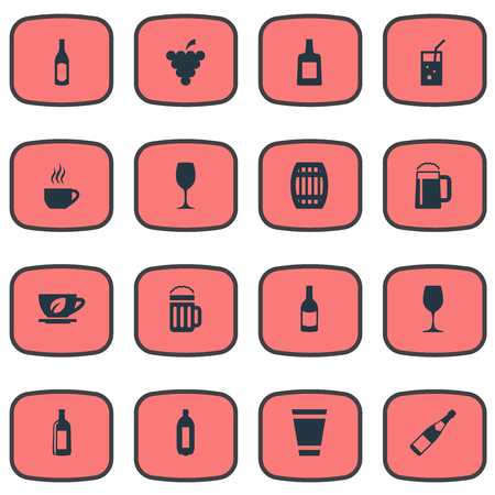 Vector Illustration Set Of Simple Beverage Icons. Elements Glass, Pub, Bottle And Other Synonyms Bottle, Cognac And Goblet.
