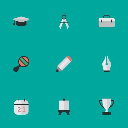 単純な知識アイコンのベクター イラスト セット。要素のペン先、学術の帽子、日付ブロック、他の類義語賞仕切りとブリーフケース。