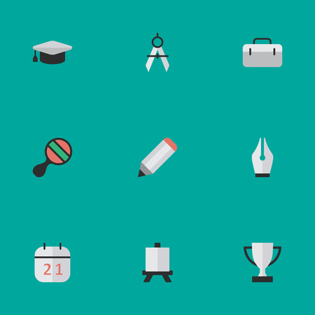 Vector Illustration Set Of Simple Knowledge Icons. Elements Nib, Academic Hat, Date Block And Other Synonyms Award, Dividers And Briefcase.