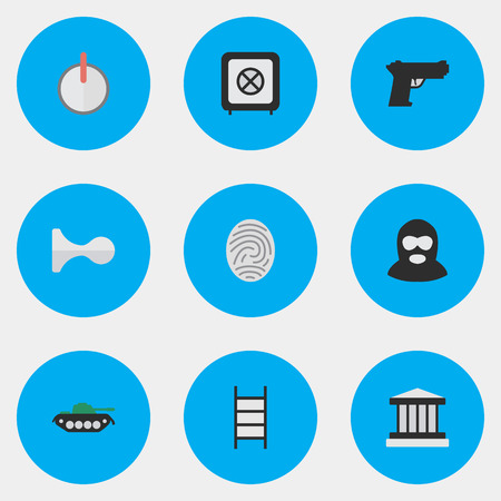 Vector Illustration Set Of Simple Crime Icons. Elements Criminal, Military, Weapon And Other Synonyms Password, Protected And Safe. Illustration