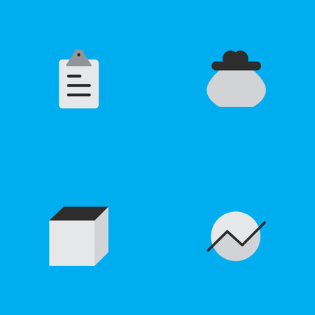 economic cycle: Vector Illustration Set Of Simple Job Icons. Elements Square, Diagram, Wallet And Other Synonyms Square, Clipboard And Task.
