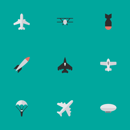 Vector Illustration Set Of Simple Aircraft Icons. Elements Bomb, Airliner, Airplane And Other Synonyms Rocket, Airplane And Flying. Illustration