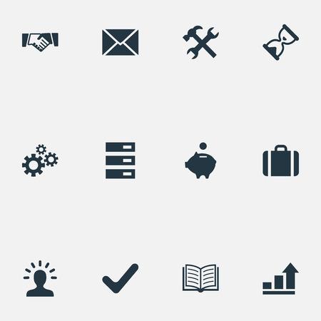 Illustration vectorielle définie des icônes de démarrage simple. Éléments graphique, enveloppe, salutation et autres synonymes minuterie, banque et réparation. Banque d'images - 82616374