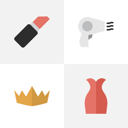 Vector Illustration Set Of Simple Elegance Icons. Elements Dress, Crown, Pomade And Other Synonyms Pomade, Hairdryer And Lipstick.