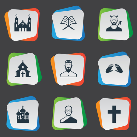 Vector Illustration Set Of Simple Faith Icons. Elements Orison, Temple, Catholic And Other Synonyms Church, Jewish And Synagogue.