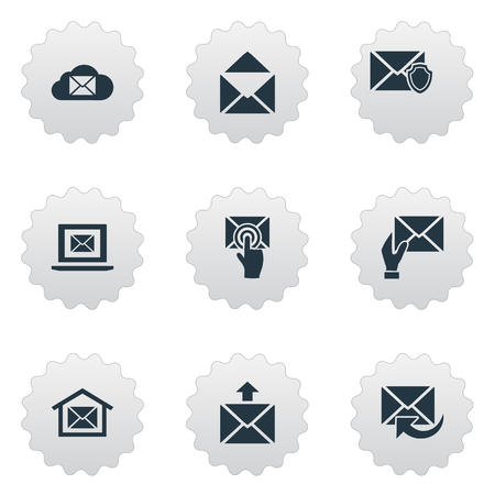 Vector Illustration Set Of Simple Mailing Icons. Elements Laptop, Receiver, Envelope And Other Synonyms Receiver, Envelope And Message. Illustration