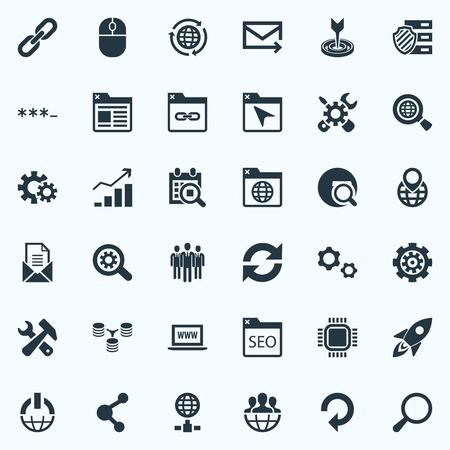 Illustration vectorielle définie des icônes d'optimisation simple. Elements Date Block, Partager, Signet et autres synonymes Progrès, actualiser et lien Banque d'images - 82615366