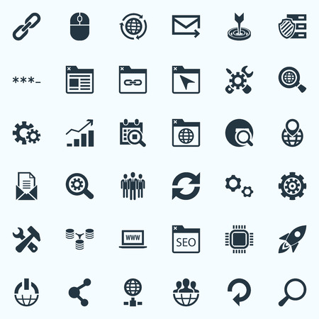 Vector Illustration Set Of Simple Optimization Icons. Elements Date Block, Share, Bookmark And Other Synonyms Progress, Refresh And Link.