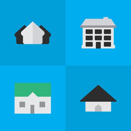 単純なプロパティのアイコンのセットです。要素構造、家、ベース、その他類義語不動産ハウスと建物。  イラスト・ベクター素材