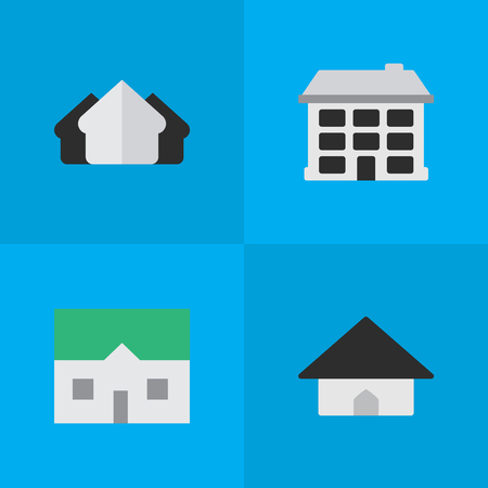 Set Of Simple Property Icons. Elements Structure, House, Base And Other Synonyms Estate, House And Building.