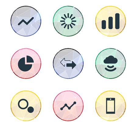 Vector Illustration Set Of Simple Analysis Icons. Elements Graphic, Comparison, and more. Çizim