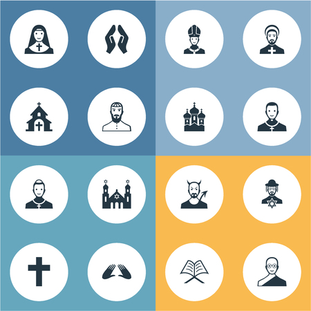 벡터 일러스트 레이 션 간단한 믿음 아이콘의 집합입니다. 요소 카톨릭, 기독교, 동사 및 기타 동의어 대머리, 교황 및 오리온.