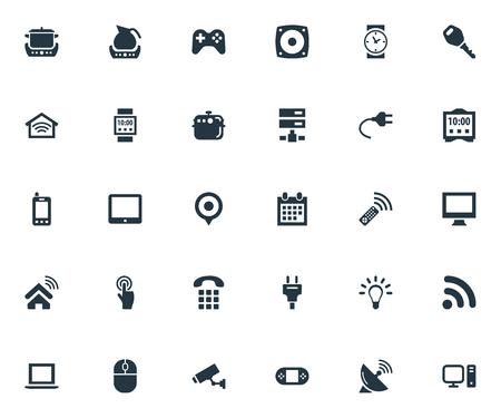 Illustrazione vettoriale Set di icone semplici di Internet. Elementi Desktop, Sorveglianza e altro. Archivio Fotografico - 82618895