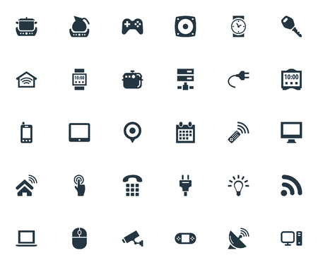 Vector Illustration Set Of Simple Internet Icons. Elements Desktop, Surveillance, and more. Illusztráció