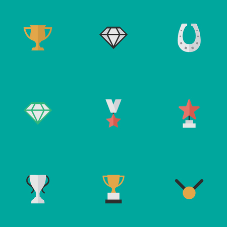 Vector Illustration Set Of Simple Reward Icons. Elements Goblet, Medal, Champion And Other Synonyms Cub, First And Award. Illustration