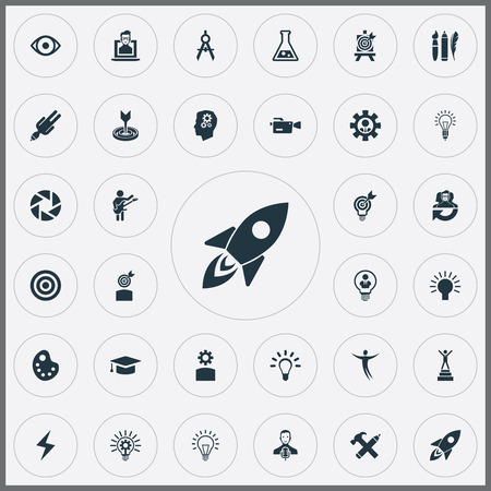 Vector Illustration Set Of Simple Creative Thinking Icons. Elements Perfection, Dance, Electric And Other Synonyms Leader, Mind And Shuttle.
