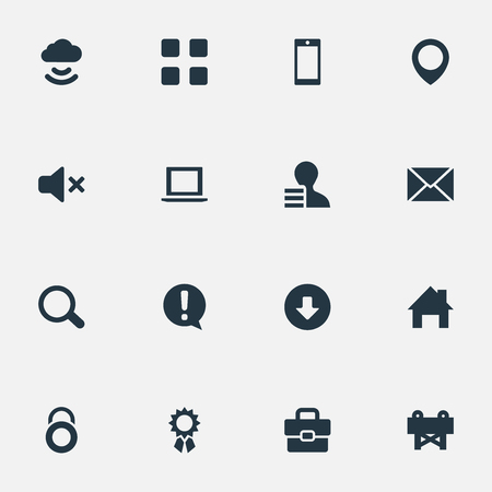 Vector Illustration Set Of Simple Interface Icons. Elements Grid, Magnifier, Navigation And Other Synonyms Padlock, Section And Quality.