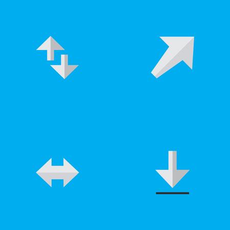 벡터 일러스트 레이 션 간단한 화살표 아이콘의 집합입니다. 요소 Loading, Southwestward 및 기타. 일러스트