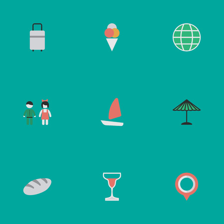 Vector Illustration Set Of Simple Holiday Icons. Elements Pair, Parasol, World And Other Synonyms World, Umbrella And Planet. 向量圖像
