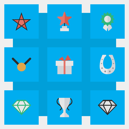 Vector Illustration Set Of Simple Prize Icons. Elements Champion, Diamond, Present And Other Synonyms Goblet, Present And Gift. 版權商用圖片 - 82618908