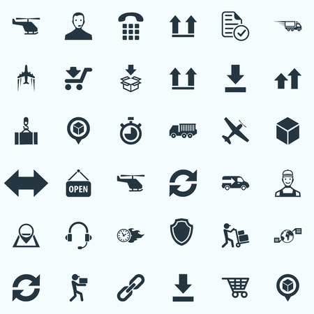 Vector Illustration Set Of Simple Engineering Icons. Elements Bottom Side, Courier, Consultant And Other Synonyms Map, and more. Çizim