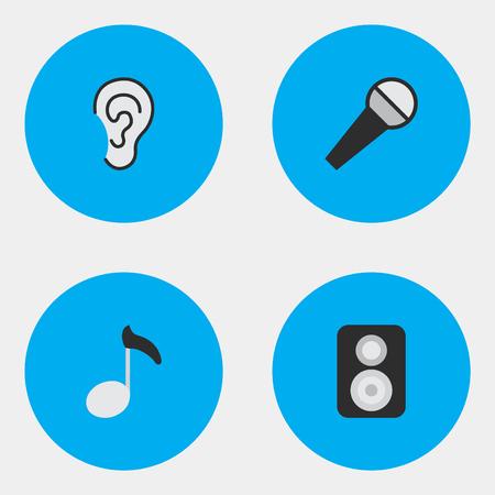 Vector illustratie Set van eenvoudige geluidspictogrammen. Elementen Luister, spreker, noot en andere synoniemen Luister, Mike en noot. Stock Illustratie