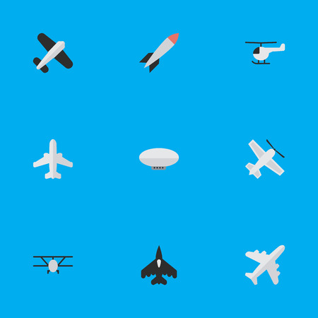 Vector Illustration Set Of Simple Airplane Icons. Elements Aircraft, Balloons, Craft And Other Synonyms Aircraft, Vehicle And Rocket.