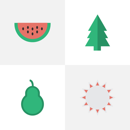 Vector Illustration Set Of Simple Horticulture Icons. Elements Sunny, Punching Bag, Tree And Other Synonyms Punching, Forest And Pear.