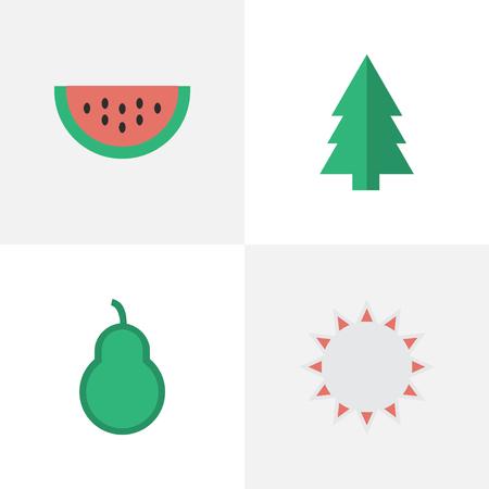 Vectorillustratiereeks Eenvoudige Tuinbouwpictogrammen. Zonnige elementen, bokszak, boom en ander synoniemenstempel, bos en peer.