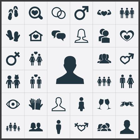 シンプルな最愛アイコンのベクター イラスト セット。要素のマダム、ミスター、ダブル、他類義語マダムの夫と結婚。 写真素材 - 82618939