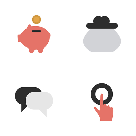 Vector Illustration Set Of Simple Trade Icons. Elements Moneybox, Wallet, Finger Touching And Other Synonyms Piggy, Humans And Finger. Ilustração