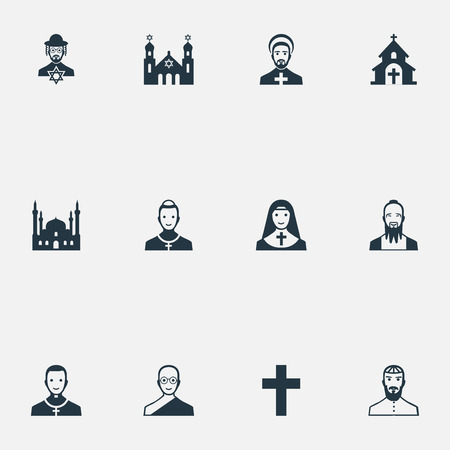 Vector Illustration Set Of Simple Faith Icons. Elements Crucifix, Cleric, Buddhist And Other Synonyms Man, Priest And Jewish. Ilustracja