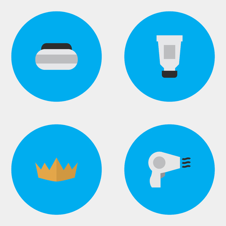 Vector Illustration Set Of Simple Elegance Icons. Elements Crown, Blow-Dryer, Toothpaste And Other Synonyms Crown, Toothpaste And Cream.