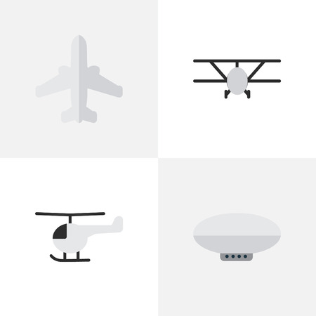 Vector Illustration Set Of Simple Aircraft Icons. Elements Copter, Airliner, Balloons And Other Synonyms Aircraft, Aviation And Helicopter.
