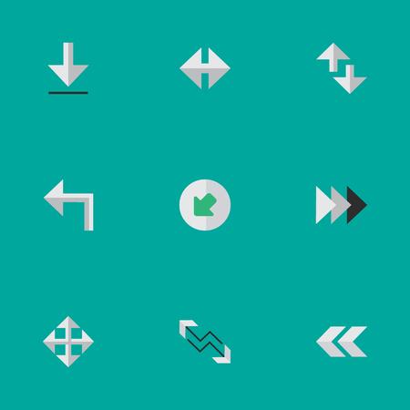 単純なポインター アイコンのベクター イラスト セット。要素のインジケーター、矢印、カーソル、他の同義語を広げる、読み込みと北西方向へ。  イラスト・ベクター素材