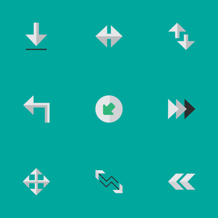 Vector Illustration Set Of Simple Pointer Icons. Elements Indicator, Arrow, Cursor And Other Synonyms Widen, Loading And Northwestward. Illustration