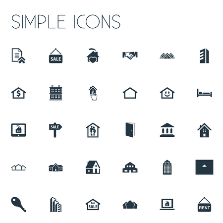 Vector Illustration Set Of Simple Property Icons. Elements Promotion, Advertising, Residential And Other Synonyms Skyscraper, Entrance And Sign.