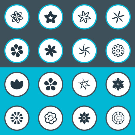 Vector Illustration Set Of Simple Flower Icons. Elements Fuji, Daisy, Narcissus And Other Synonyms Chrysanthemums, Daisy And Blossoming.
